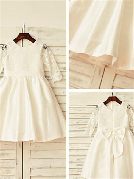 A-line/Princess Jewel Tea-Length Satin Flower Girl Dress with Lace