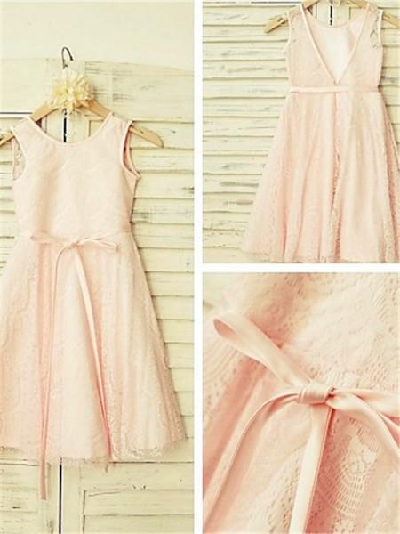 A-line/Princess Scoop Sash/Ribbon/Belt Tea-Length Flower Girl Dress with Lace