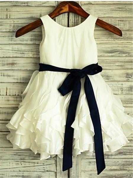 A-line/Princess Sleeveless Scoop Bowknot Tea-Length Taffeta Flower Girl Dresses