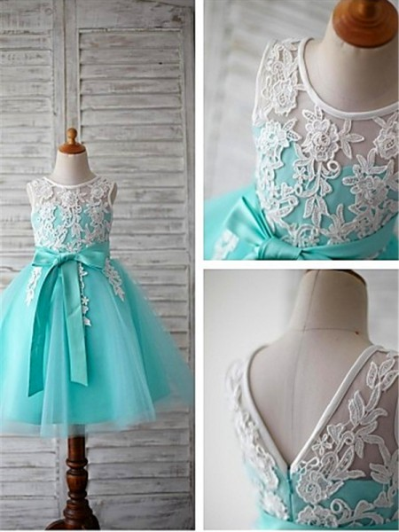 Ball Gown Sleeveless Scoop Bowknot Tea-Length Tulle Flower Girl Dresses