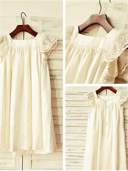A-line/Princess Scoop Tea-Length Chiffon Flower Girl Dress with Lace