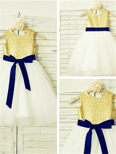 A-line/Princess Scoop Sequin Tea-Length Tulle Flower Girl Dress
