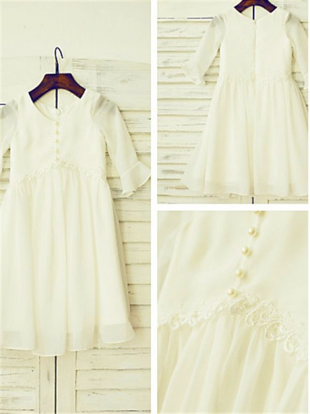 A-line/Princess Scoop Ruffles Tea-Length Chiffon Flower Girl Dress