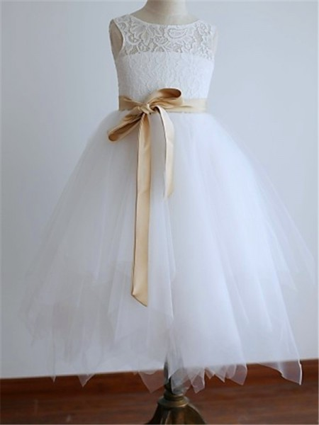 A-line/Princess Scoop Sash/Ribbon/Belt Floor-Length Tulle Flower Girl Dress