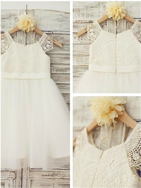 A-line/Princess Sleeveless Scoop Lace Knee-Length Tulle Flower Girl Dresses