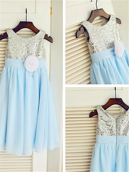 A-line/Princess Scoop Sequin Tea-Length Chiffon Flower Girl Dress
