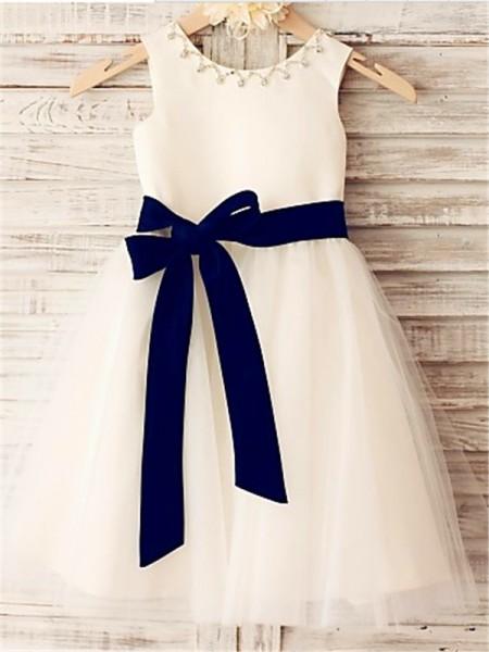 A-line/Princess Scoop Bowknot Tea-Length Tulle Flower Girl Dress