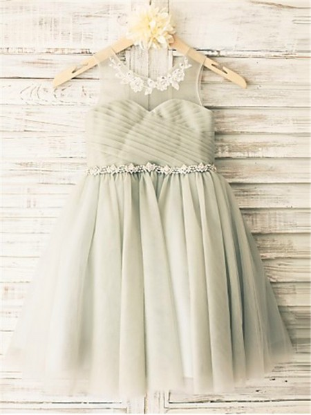 A-line/Princess Scoop Beading Tea-Length Tulle Flower Girl Dress
