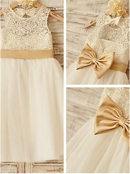 A-line/Princess Sleeveless Bowknot Scoop Knee-Length Tulle Flower Girl Dresses