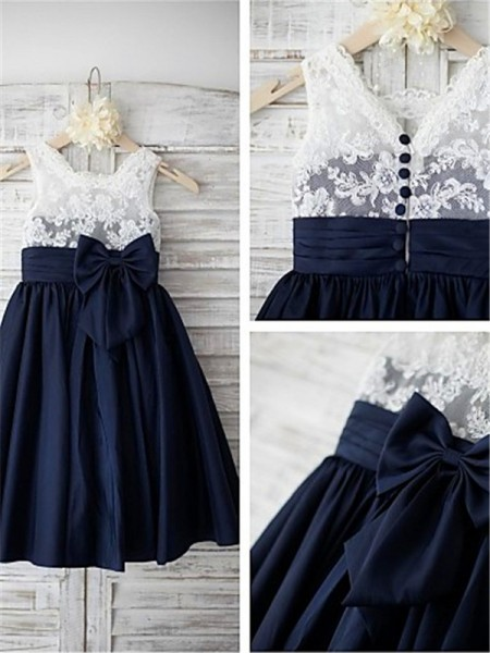 A-line/Princess Straps Sleeveless Bowknot Tea-Length Taffeta Flower Girl Dresses