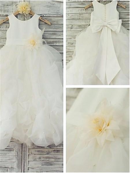 Ball Gown Scoop Hand-made Flower Floor-Length Organza Flower Girl Dress
