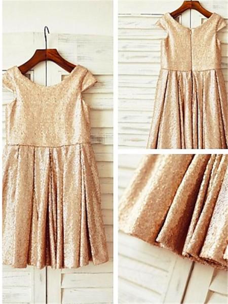 A-line/Princess Scoop Tea-Length Sequins Flower Girl Dress