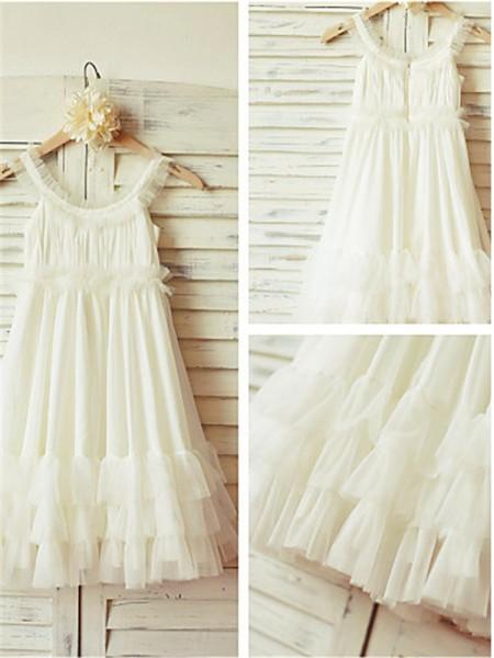 A-line/Princess Straps Ruffles Tea-Length Chiffon Flower Girl Dress