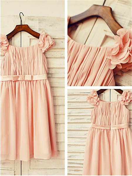 A-line/Princess Straps Layers Tea-Length Chiffon Flower Girl Dress