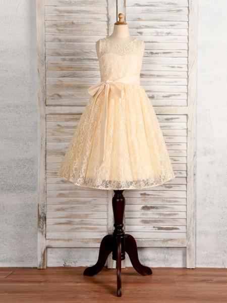 A-Line/Princess Lace Sash/Ribbon/Belt Scoop Sleeveless Tea-Length Flower Girl Dresses