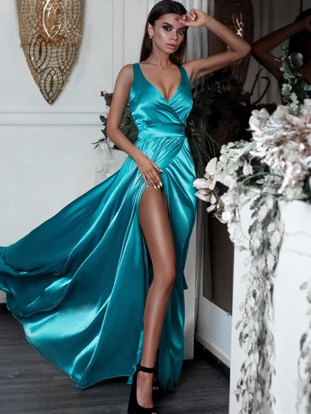 A-Line/Princess Sleeveless Ruffles V-neck Floor-Length Satin Dresses