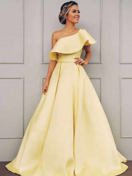A-Line/Princess Sleeveless Floor-Length Ruffles One-Shoulder Satin Dresses