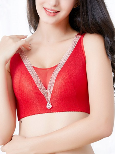 Refined Lace With Rhinestone Back Closure Bras