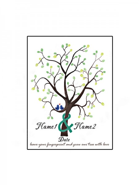 Wonderful Personalized Canvas Fingerprint Guestbook With Ink Pad