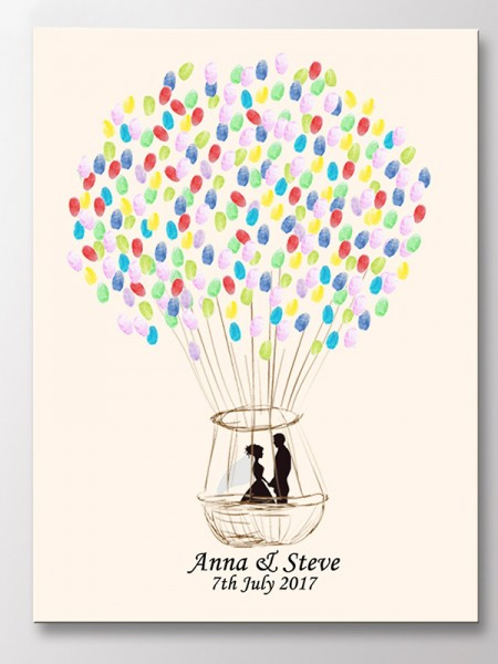 Pretty Personalized Canvas Fingerprint Guestbook With Ink Pad