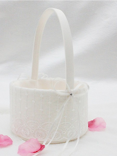 Attractive Flower Basket In Cloth With Bowknot