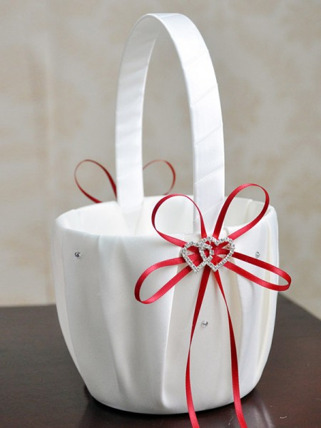 Beautiful Flower Basket In Satin With Bowknot