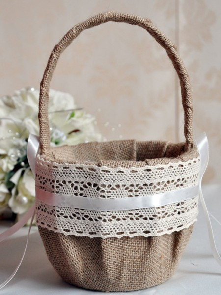Simple Flower Basket In Linen With Sash