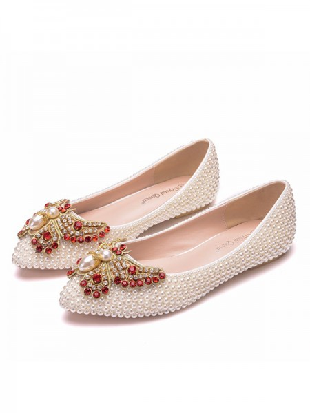 Women's PU Closed Toe With Pearl Flat Heel Flat Shoes
