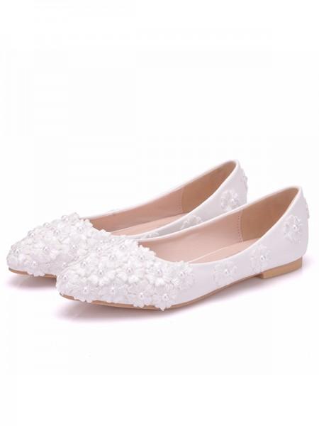 Women's PU Closed Toe With Flower Flat Heel Flat Shoes