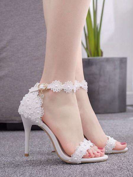Women's PU Peep Toe With Flower Stiletto Heel Sandals