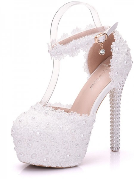 Women's PU Closed Toe With Beading Stiletto Heel Platforms Shoes