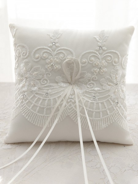 Delicate Ring Pillow In Satin With Applique/Rhinestone
