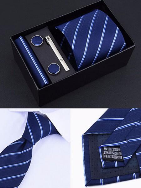 Modern Polyester Tie Tie Clip Cufflinks