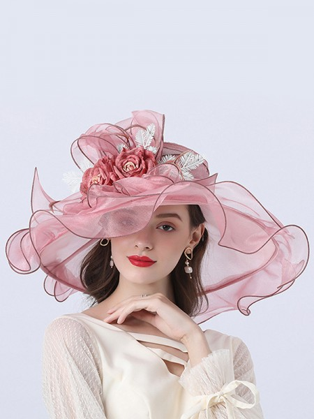 Ladies' Pretty Organza With Flower Floppy Hats/Beach/Sun Hats/Kentucky Derby Hats