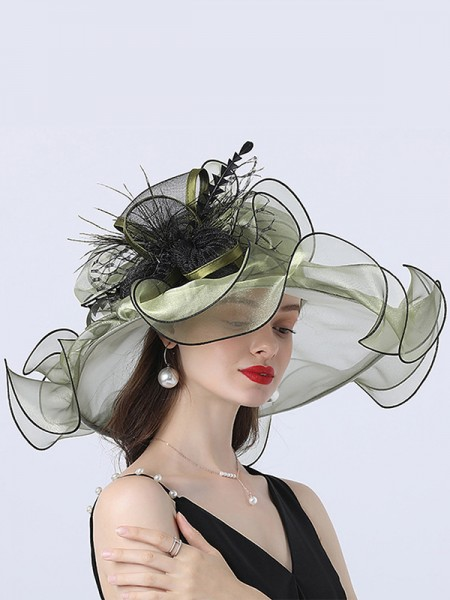 Ladies' Eye-catching Organza With Silk Flower Beach/Sun Hats/Kentucky Derby Hats/Tea Party Hats
