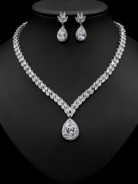 Elegant Copper With Zircon Jewelry Sets For Women