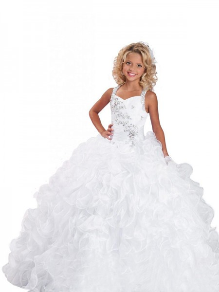 Ball Gown Straps Beading Flower Girl Dress with Organza
