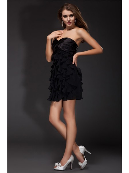 Sheath/Column Ruffles Short Chiffon Elastic Woven Satin Cocktail Dress