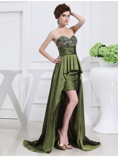 A-Line/Princess Sweetheart High Low Taffeta Dress