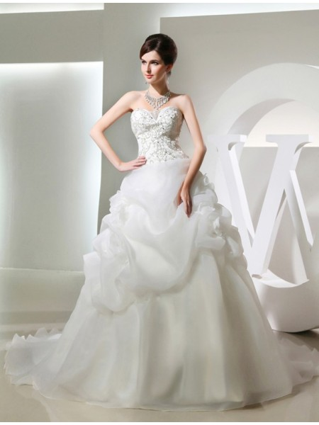 Ball Gown Long Organza Wedding Dress