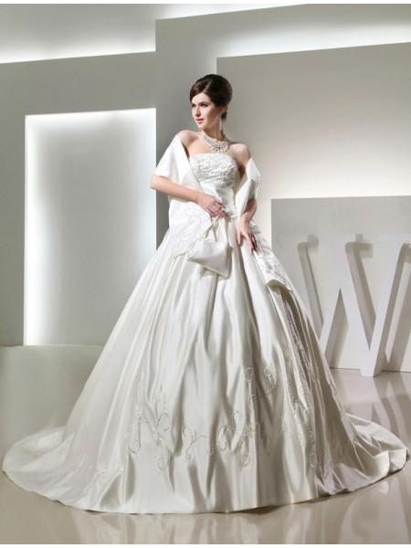 Ball Gown Long Strapless Satin Wedding Dress