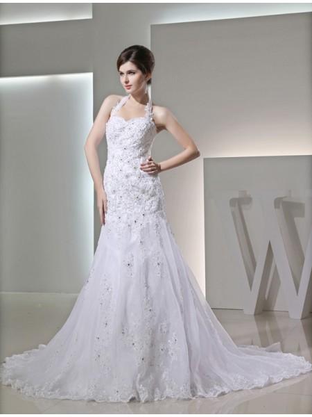 Trumpet/Mermaid Halter Applique Satin Wedding Dress
