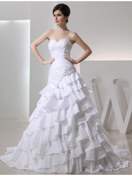 A-Line/Princess Sweetheart Long Taffeta Wedding Dress