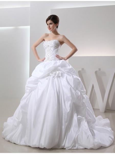 Ball Gown Long Taffeta Wedding Dress