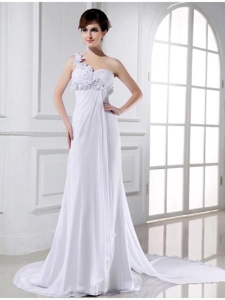 A-Line/Princess One-shoulder Chiffon Wedding Dress