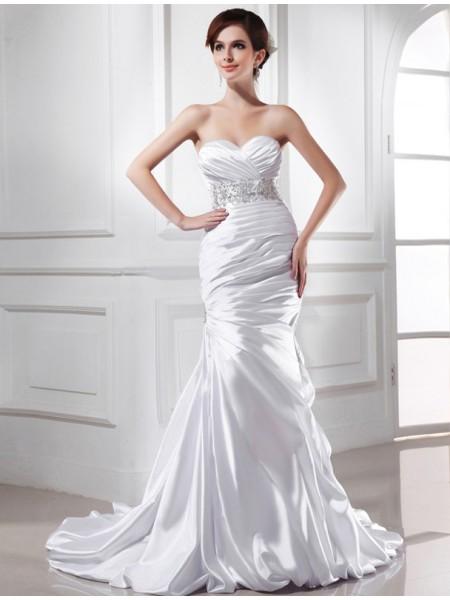 Trumpet/Mermaid Sweetheart Elastic Woven Satin Wedding Dress