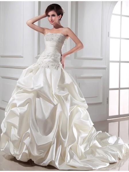 Ball Gown Strapless Long Satin Wedding Dress