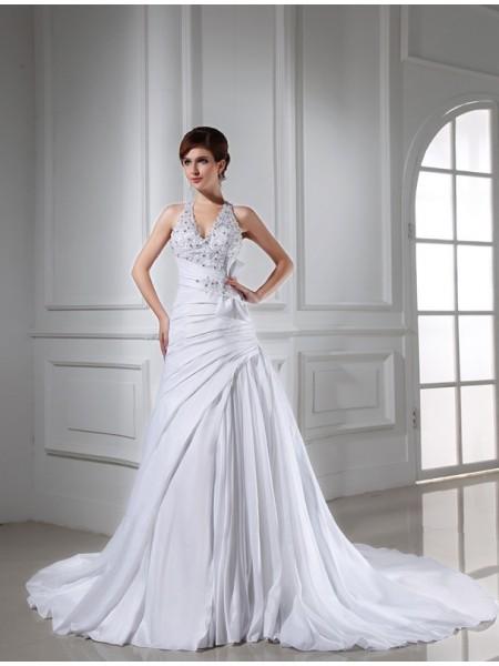 A-Line/Princess Halter Long Taffeta Wedding Dress