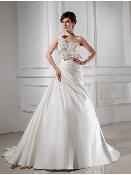 A-Line/Princess One-shoulder Satin Wedding Dress