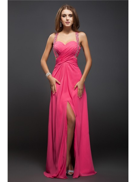 Sheath/Column Straps Ruffles Chiffon Dress
